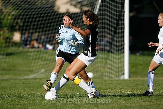 Salt Lake City - Olympus beats Highland high school girls soccer 2-1 Thursday, August 27 2009. .Olympus goalkeeper Tessa Christensen