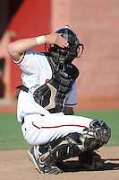 Rutgers University Scarlet Knights catcher Jeff Melillo (1) during game against the University of Connecticut Huskies at Bainton Field on May 3, 2013 in Piscataway, New Jersey. Connecticut defeated Rutgers 3-1.      . (Tomasso DeRosa/ Four Seam Images)