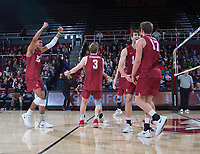 STANFORD, CA - March 2, 2019: Jaylen Jasper, Paul Bischoff, Eli Wopat, Kyler Presho at Maples Pavilion. The Stanford Cardinal defeated BYU 25-20, 25-20, 22-25, 25-21.