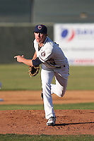 Josh Hader #17 of the Lancaster JetHawks pitches against the Bakersfield Blaze at The Hanger on May 13, 2014 in Lancaster California. Lancaster defeated Bakersfield, 1-0. (Larry Goren/Four Seam Images)