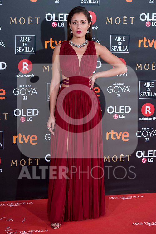 Hiba Abouk attends red carpet of Goya Cinema Awards 2018 at Madrid Marriott Auditorium in Madrid , Spain. February 03, 2018. (ALTERPHOTOS/Borja B.Hojas)