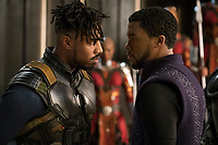 Black Panther (2018)<br /> L to R: Erik Killmonger (Michael B. Jordan) and T'Challa/Black Panther (Chadwick Boseman)<br /> *Filmstill - Editorial Use Only*<br /> CAP/KFS<br /> Image supplied by Capital Pictures