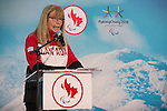 Ottawa, ON - January 24 2017 - Karen O'Neill, Canadian Paralympic Committee CEO, introduces Todd Nicholson as the Team Canada Chef de Mission for the 2018 Paralympic Winter Games in Pyeongchang, South Korea at the Jim Durrell Recreation Complex in Ottawa, Ontario, Canada (Photo: Matthew Murnaghan/Canadian Paralympic Committee)