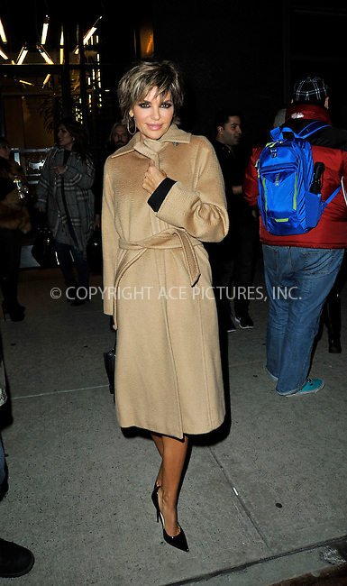 WWW.ACEPIXS.COM<br /> <br /> January 13 2015, New York City<br /> <br /> Actress Lisa Rinna made an appearance at 'Watch What Happens Live' on January 13 2015 in New York City<br /> <br /> By Line: Curtis Means/ACE Pictures<br /> <br /> <br /> ACE Pictures, Inc.<br /> tel: 646 769 0430<br /> Email: info@acepixs.com<br /> www.acepixs.com