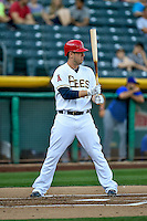 C.J. Cron (24) of the Salt Lake Bees at bat against the Round Rock Express in Pacific Coast League action at Smith's Ballpark on August 13, 2016 in Salt Lake City, Utah. Round Rock defeated Salt Lake 7-3.  (Stephen Smith/Four Seam Images)