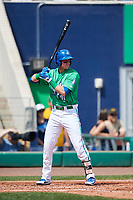 Hartford Yard Goats left fielder Drew Weeks (24) at bat during a game against the Trenton Thunder on August 26, 2018 at Dunkin' Donuts Park in Hartford, Connecticut.  Trenton defeated Hartford 8-3.  (Mike Janes/Four Seam Images)