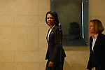 US Secretery of State Condoleezza Rice (L) and Israeli Foreign Minister Tzipi Livni (R) arrive to a joint press conference in Jerusalem Wednesday September 19, 2007.<br /> (Photo by Ahikam Seri).