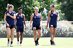 CARY, NC - JUNE 09: Meredith Speck (25), Darian Jenkins (16), Taylor Smith (second from left) and Stephanie Ochs (left). The North Carolina Courage held a training session on June 9, 2017, at WakeMed Soccer Park Field 5 in Cary, NC.