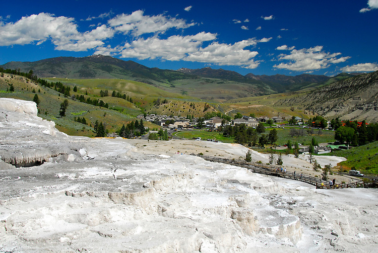 Viewing the town of Mammoth Hot Springs from the Upper Terrace-Yellowstone National Park