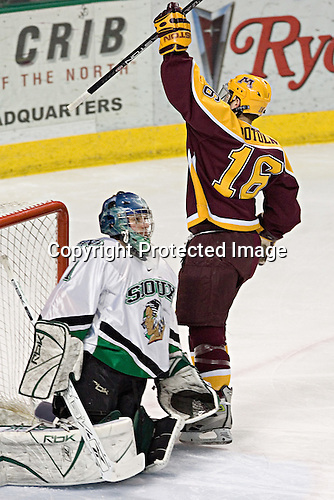 Jordan Parise, Ryan Potulny - The University of Minnesota Golden Gophers defeated the University of North Dakota Fighting Sioux 4-3 on Friday, December 9, 2005, at Ralph Engelstad Arena in Grand Forks, North Dakota.