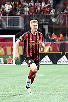 ATLANTA, GA - MARCH 07: ATLANTA, GA - MARCH 07: Atlanta United defender Laurence Wyke runs down the ball during the match against FC Cincinnati, which Atlanta won, 2-1, in front of a crowd of 69,301 at Mercedes-Benz Stadium during a game between FC Cincinnati and Atlanta United FC at Mercedes-Benz Stadium on March 07, 2020 in Atlanta, Georgia.