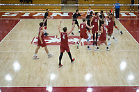 STANFORD, CA - December 30, 2017: Leo Henken, Evan Enriques, Eric Beatty, Kevin Rakestraw, Russell Dervay, Jaylen Jasper at Burnham Pavilion. The Stanford Cardinal defeated the Calgary Dinos 3-1.