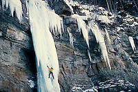 Kurt Smith (MR) ice climbing on the Rigid Designator, Vail, CO. Kurt Smith. Vail, Colorado.