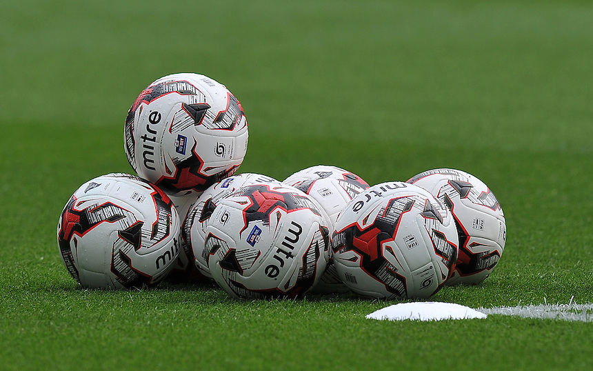 Footballs piled up during warm up<br /> <br /> Photographer Dave Howarth/CameraSport<br /> <br /> Football - The Football League Sky Bet Championship - Burnley v Brentford - Saturday 22nd August 2015 - Turf Moor - Burnley<br /> <br /> &copy; CameraSport - 43 Linden Ave. Countesthorpe. Leicester. England. LE8 5PG - Tel: +44 (0) 116 277 4147 - admin@camerasport.com - www.camerasport.com