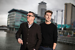 "© Joel Goodman - 07973 332324 . 22/01/2018 . Salford , UK . MIKE JOYCE and CRAIG GANNON . Former band members of the Smiths and Manchester Camerata were reported to be joining forces to create "" Classically Smiths "" which would have seen Smiths songs played live to a classical orchestral backing but now bass player Andy Rourke has said he knew nothing of the project and was never invited in the first place . Photo credit : Joel Goodman"