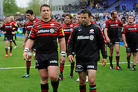 20130512 Copyright onEdition 2013©.Free for editorial use image, please credit: onEdition..John Smit (left) and Neil de Kock of Saracens look dejected after losing the Premiership Rugby semi final match between Saracens and Northampton Saints at Allianz Park on Sunday 12th May 2013 (Photo by Rob Munro)..For press contacts contact: Sam Feasey at brandRapport on M: +44 (0)7717 757114 E: SFeasey@brand-rapport.com..If you require a higher resolution image or you have any other onEdition photographic enquiries, please contact onEdition on 0845 900 2 900 or email info@onEdition.com.This image is copyright onEdition 2013©..This image has been supplied by onEdition and must be credited onEdition. The author is asserting his full Moral rights in relation to the publication of this image. Rights for onward transmission of any image or file is not granted or implied. Changing or deleting Copyright information is illegal as specified in the Copyright, Design and Patents Act 1988. If you are in any way unsure of your right to publish this image please contact onEdition on 0845 900 2 900 or email info@onEdition.com