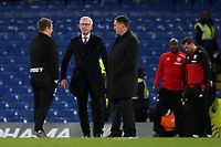 West Brom Manager, Alan Pardew, chats with his Assistant Head Coach, John Carver and Martin Allen pre-match during Chelsea vs West Bromwich Albion, Premier League Football at Stamford Bridge on 12th February 2018