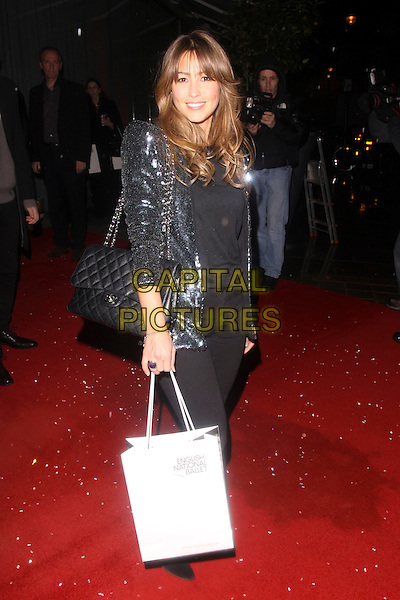 RACHEL STEVENS.Cecile & Hermione English National Ballet's Christmas VIP Party at St Martins Hotel, London, England..December 16th 2009 .full length black knee high boots sequined sequins jacket silver blue jeans denim quilted chanel bag goody .CAP/AH.©Adam Houghton/Capital Pictures.