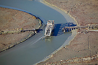 aerial photograph, Swing Bridge, Petaluma River, Novato, Marin County, California