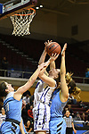 GRAND RAPIDS, MI - MARCH 18: Natalie Nardella (24) of Amherst College attempts a contested shot during the Division III Women's Basketball Championship held at Van Noord Arena on March 18, 2017 in Grand Rapids, Michigan. Amherst defeated 52-29 for the national title. (Photo by Brady Kenniston/NCAA Photos via Getty Images)