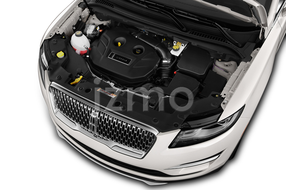 Car stock 2019 Lincoln MKC Base 5 Door SUV engine high angle detail view