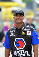 Jun. 29, 2012; Joliet, IL, USA: NHRA top fuel dragster driver Antron Brown during qualifying for the Route 66 Nationals at Route 66 Raceway. Mandatory Credit: Mark J. Rebilas-