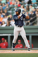 Right fielder Steven Sensley (5) of the Charleston RiverDogs bats in a game against the Greenville Drive on Friday, April 27, 2018, at Fluor Field at the West End in Greenville, South Carolina. Greenville won, 5-4. (Tom Priddy/Four Seam Images)