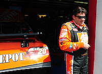 Apr 25, 2008; Talladega, AL, USA; NASCAR Sprint Cup Series driver Tony Stewart during practice for the Aarons 499 at Talladega Superspeedway. Mandatory Credit: Mark J. Rebilas-