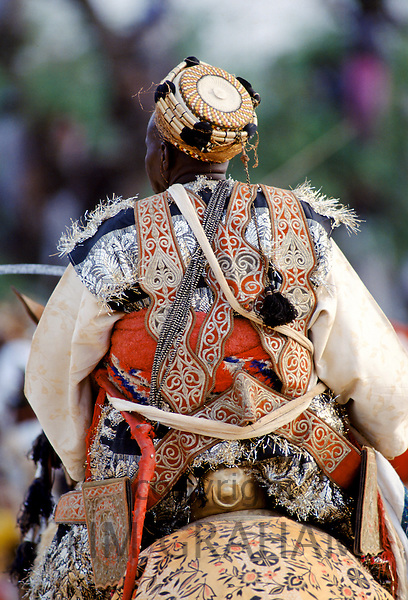 Nigerian chief at tribal gathering durbar cultural event at Maiduguri in Nigeria, West Africa