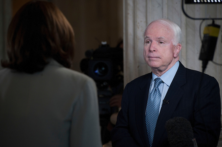 UNITED STATES - : John McCain, R-AZ., does a TV stand-up interview in the Russell Senate Office Building Rotunda on June 15, 2011. (Photo By Douglas Graham/Roll Call via Getty Images)