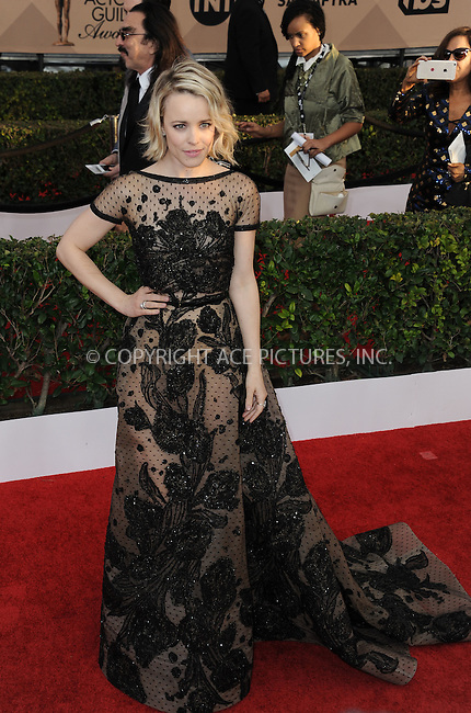 WWW.ACEPIXS.COM<br /> <br /> January 30 2016, LA<br /> <br /> Rachel McAdams arriving at the 22nd Annual Screen Actors Guild Awards at the Shrine Auditorium on January 30, 2016 in Los Angeles, California<br /> <br /> By Line: Peter West/ACE Pictures<br /> <br /> <br /> ACE Pictures, Inc.<br /> tel: 646 769 0430<br /> Email: info@acepixs.com<br /> www.acepixs.com