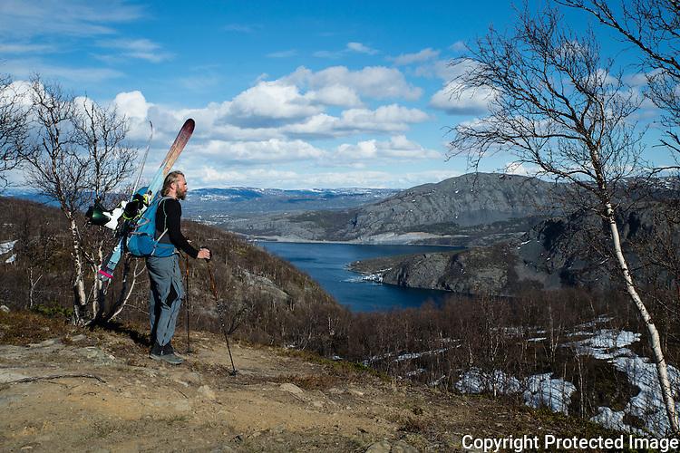 Mann bærer ski på ryggen på vei mot Halddetoppen ved Alta. Alta i bakgrunnen. ---- Man carrying skis towards Haldde.