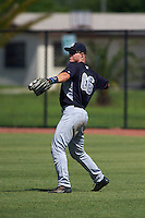 GCL Yankees 1 outfielder Trey Amburgey (66) throws the ball in during the first game of a doubleheader against the GCL Tigers on August 5, 2015 at Tigertown in Lakeland, Florida.  GCL Tigers derated the GCL Yankees 5-2.  (Mike Janes/Four Seam Images)