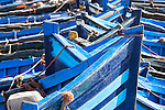 Blue fishing boats in Essaouira.