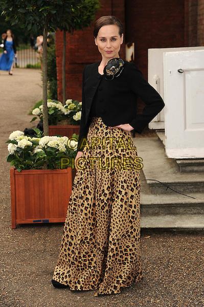 Tara Fitzgerald.English National Ballet Summer Party, Hyde Park, London, England..June 27th, 2012.full length black jacket blazer brown leopard print dress hand on hip.CAP/CAS.©Bob Cass/Capital Pictures.