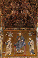 Christ in Majesty between Saint Peter and Saint Paul and muqarnas ceiling, Norman-Byzantine mosaics of the Western wall of the Cappella Palatina (Palatine Chapel), 1130 - 1140, by Roger II, within the Palazzo dei Normanni (Palace of the Normans), Palermo, Sicily, Italy. Picture by Manuel Cohen