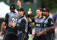 Trent Boult celebrates the wicket of Roy.<br /> New Zealand Black Caps v England.Tri-Series International Twenty20 cricket. Eden Park, Auckland, New Zealand. Sunday 18 February 2018. &copy; Copyright Photo: Andrew Cornaga / www.Photosport.nz
