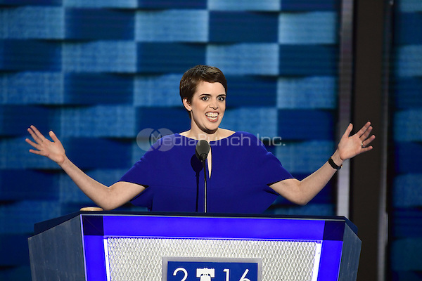 Brooks Bell a tech entrepreneur from North Carolina makes remarks during the third session of the 2016 Democratic National Convention at the Wells Fargo Center in Philadelphia, Pennsylvania on Wednesday, July 27, 2016.<br /> Credit: Ron Sachs / CNP/MediaPunch<br /> (RESTRICTION: NO New York or New Jersey Newspapers or newspapers within a 75 mile radius of New York City)