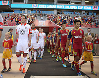 Players walk onto the filed before a game against Real Salt Lake and D.C. United at the U.S. Open Cup Final on October  1, 2013 at Rio Tinto Stadium in Sandy, Utah.