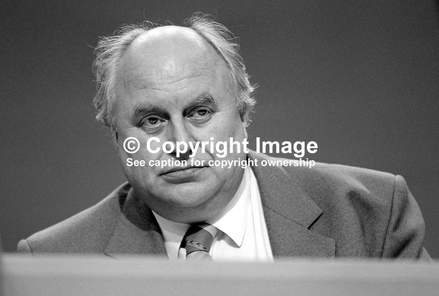 Norman Willis, general secretary, Trades Union Congress, UK, on platform at annual conference September 1986. 19860911NW1<br /> <br /> Copyright Image from Victor Patterson, 54 Dorchester Park, Belfast, UK, BT9 6RJ<br /> <br /> t1: +44 28 9066 1296<br /> t2: +44 28 9002 2446<br /> m: +44 7802 353836<br /> <br /> e1: victorpatterson@me.com<br /> e2: victorpatterson@gmail.com<br /> <br /> www.victorpatterson.com<br /> <br /> IMPORTANT: Please see my Terms and Conditions of Use at www.victorpatterson.com