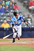 Richmond Flying Squirrels third baseman Ryder Jones (8) swings at a pitch during a game against the Hartford Yard Goats at The Diamond on April 30, 2016 in Richmond, Virginia. The Yard Goats defeated the Flying Squirrels 5-1. (Tony Farlow/Four Seam Images)