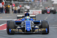March 25, 2017: Marcus Ericsson (SWE) #9 from the Sauber F1 Team leaves the pits for the qualifying session at the 2017 Australian Formula One Grand Prix at Albert Park, Melbourne, Australia. Photo Sydney Low