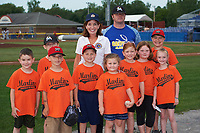 Lieutenant Governor Kathy Hochul poses for a photo with Oakfield-Alabama little leaguers before throwing out a ceremonial first pitch at a Batavia Muckdogs game against the Auburn Doubledays on July 6, 2017 at Dwyer Stadium in Batavia, New York.  Auburn defeated Batavia 4-3.  (Mike Janes/Four Seam Images)