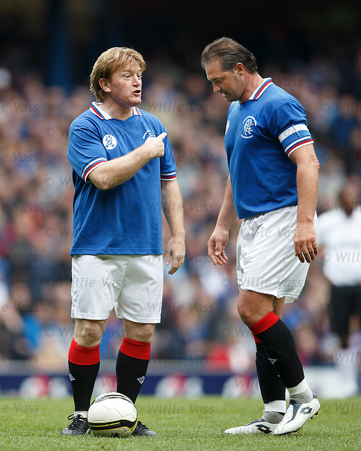 Stuart McCall moaning at Lorenzo Amoruso's bully boy tactics over taking the free-kick