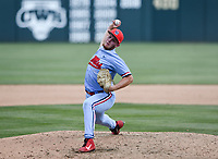 NWA Democrat-Gazette/CHARLIE KAIJO Ole Miss Houston Roth (40) throws a pitch during game two of the College Baseball Super Regional, Sunday, June 9, 2019 at Baum-Walker Stadium in Fayetteville. Ole Miss forces a game three with a 13-5 win over the Razorbacks