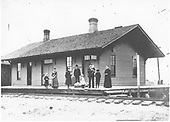 D&amp;RG Espanola agent, Sam McBride, at the depot with several other people.<br /> D&amp;RG  Espanola, NM  circa 1900