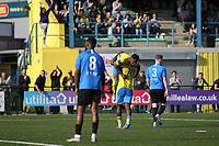 Anthony Mcdonald of Haringey scores and celebrates during Haringey Borough vs Herne Bay, Emirates FA Cup Football at Coles Park Stadium on 7th September 2019