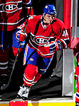 10 April 2010: Montreal Canadiens' center Maxim Lapierre sets to the ice during pre-game introductions prior to the last game of the regular season against the Toronto Maple Leafs at the Bell Centre in Montreal, Quebec, Canada. The Leafs defeated the Habs 4-3 in sudden death overtime, as the Canadiens advance to the Stanley Cup Playoffs with the single point. Mandatory Credit: Ed Wolfstein Photo