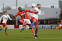 Ryheem Sheckleford of Maidenhead and Joan Luque of Dagenham during Dagenham & Redbridge vs Maidenhead United, Vanarama National League Football at the Chigwell Construction Stadium on 7th December 2019