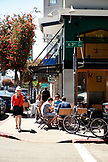 USA, California, Oakland, a view of the street scene outside of Cole Coffee